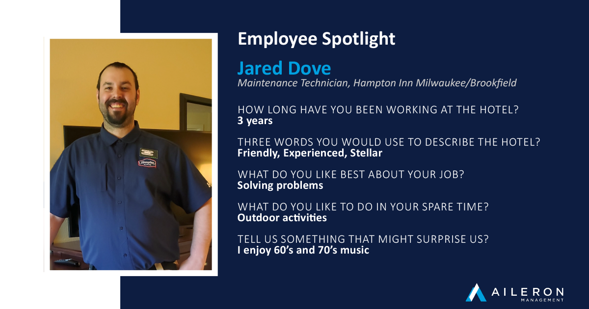September Spotlight Employee - Jared Dove, Hampton Inn Milwaukee Brookfield