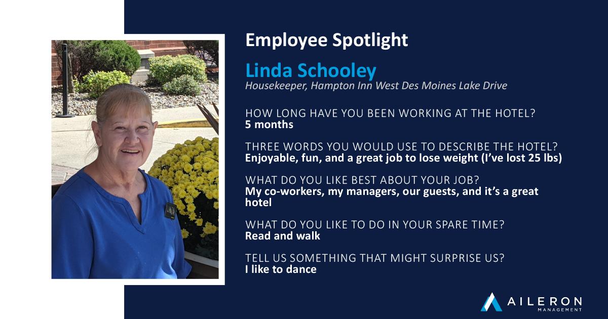 Aileron Management Employee Spotlight: Linda Schooley - Hampton Inn West Des Moines Lake Drive