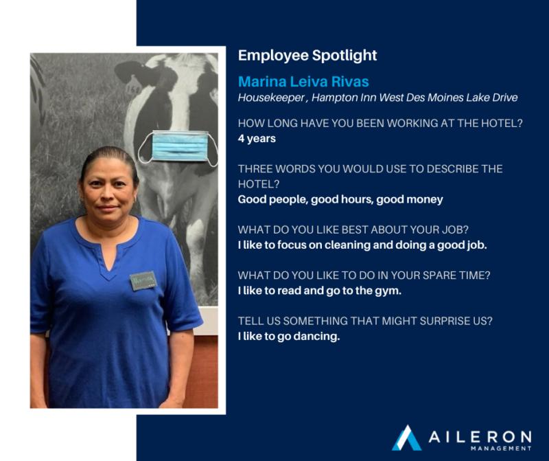 Aileron Management: Employee Spotlight: Marina Leiva Rivas, Hampton Inn West Des Moines Lake Drive